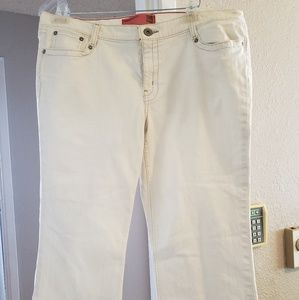 Mossimo White Crop Stretch Jean's with Red Thread